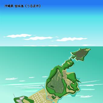 沖繩縣宮城島烏魯瑪市的海面