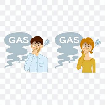 Men and women who feel uncomfortable due to gas leaks
