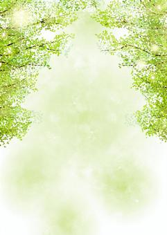 Watercolor style glitter fresh green tree-lined background vertical
