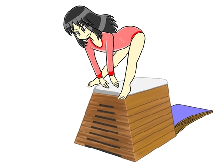 Girl jumping in the vaulting box Part 7