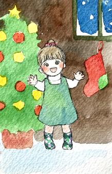 聖誕女孩水彩插圖