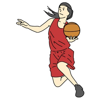 Female basketball player to lay up