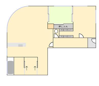 帶圓形窗戶的公寓的平面圖