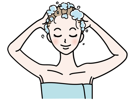Illustration of a woman shampooing
