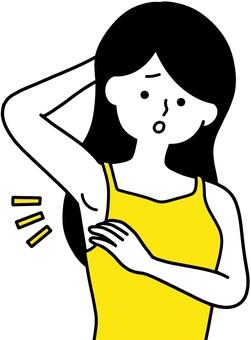 腋下淋巴腫脹 焦慮的女人