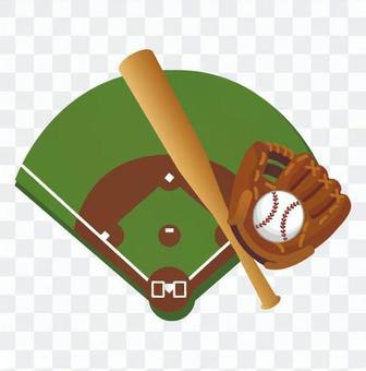 棒球場和球棒,手套