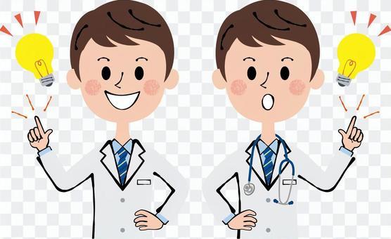 医者 研究者 薬剤師 閃く 男性 聴診器