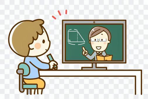 オンライン授業を受ける男の子