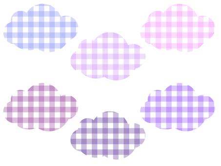 方格格紋雲彩套裝:紫色 & 粉色