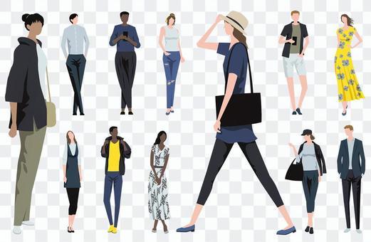 Flat illustration set of fashionable people