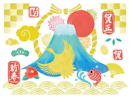 Hand-painted New Year's material collection ①