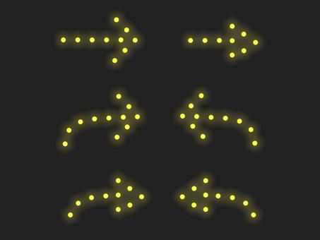箭頭照明材料集:線:黃色