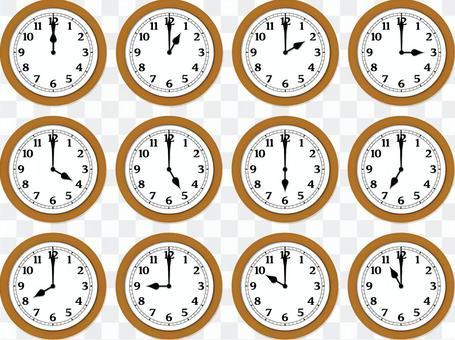 現實簡單的時鐘木製12小時
