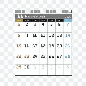 2020 Calendar Techno November