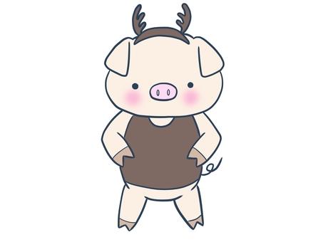 Reindeer-style piglet (Standing Nio)