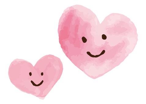 水彩畫兩顆心插圖