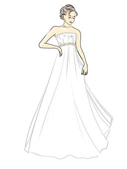 Wedding dress, empire line