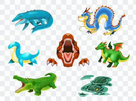 Assorted set of dinosaurs and dragons