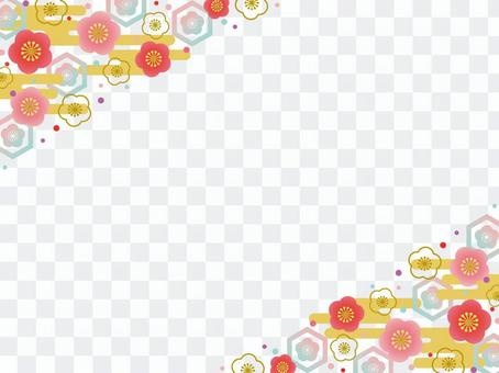Colorful plum flower frame ♡ No.3