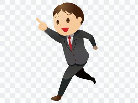 一個穿著西裝的男人用你的手指跑