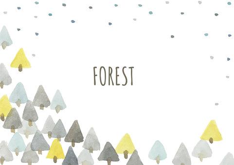 Forest watercolor illustration frame