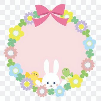 春季可愛的花朵和動物的圓形框架