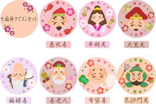 Seven Lucky Gods Icon Set