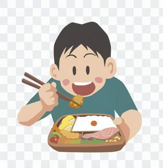 男孩吃午飯