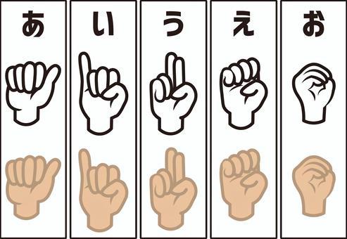 手語手指字符集(A行)