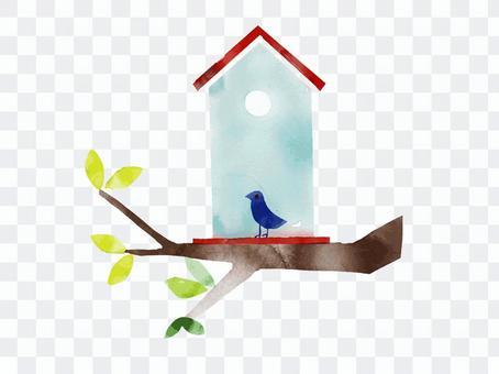 Birdhouse and blue bird