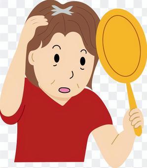 Women suffering from parietal thinning hair