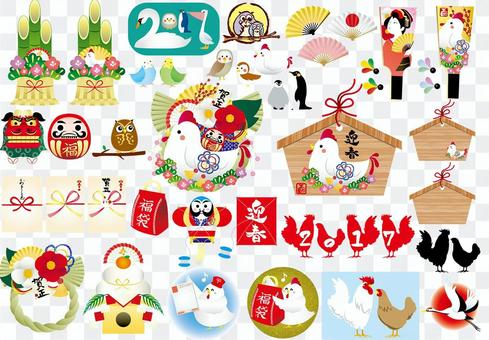 2017 New Year's Day Rooster Illustration Collection 2