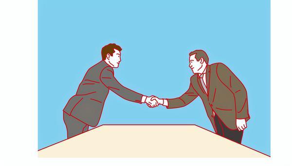 ビジネスマン 商談成立 握手