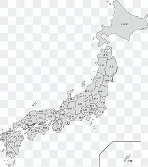 Japan map Prefecture with name monochrome