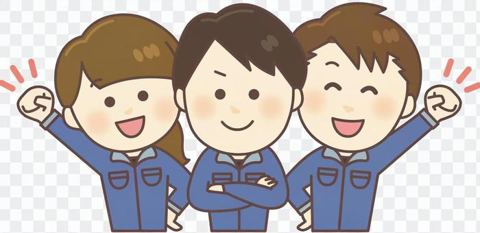 工作服3個男孩和女孩(上半身,藍色)