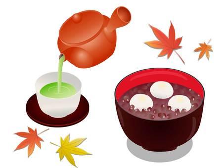 秋葉、白玉善哉、茶和九州的插圖
