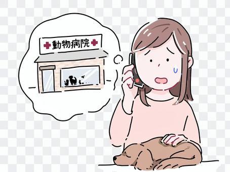 動物病院に電話をする女性2