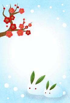 紅梅と雪うさぎの寒中見舞いハガキタテ
