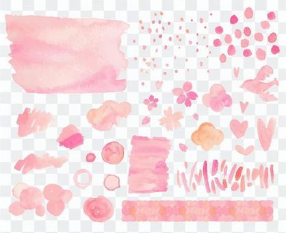 水彩粉紅色材料集