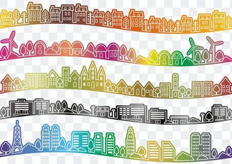 Seamless city illustration set