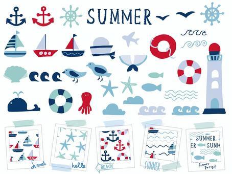 夏季海洋材料