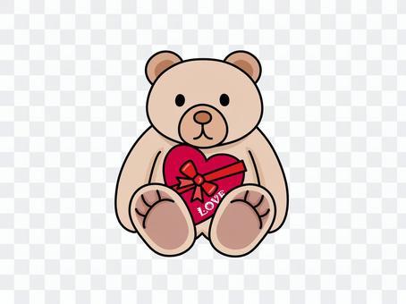 用心巧克力和熊填充动物