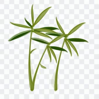 Suiboku style bamboo leaves