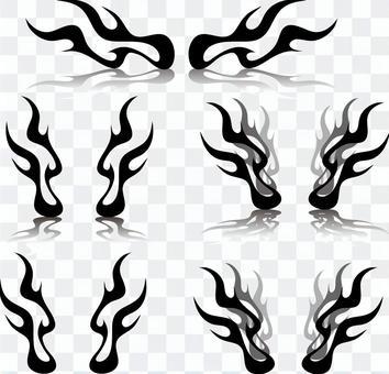 炎 シルエットセット