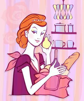 一個女人在廚房裡