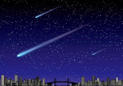 彗星在城市建築的星空中流動