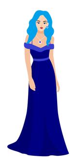藍頭髮的長裙子的女人