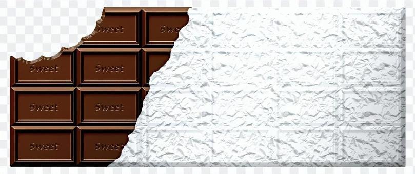 帶有銀紙的木板巧克力_