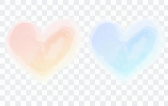 수채화 하트 프레임 배경 (빨강 파랑)