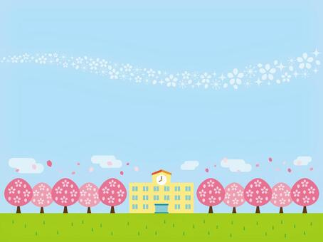 學校和櫻花風景